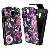 Accessory Master - Funda de piel con diseño de flores para Samsung Galaxy Ace i8160, color negro y rosa
