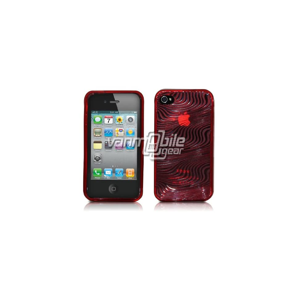 VMG For Apple iPhone 4 Cell Phone TPU Design Hard Rubber Gel Skin Case Cover   Red Wave TextuRed Design
