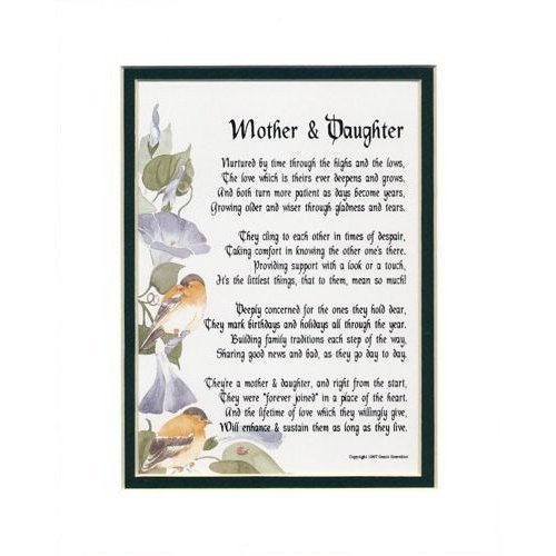 """A Mother & Daughter"" Touching 8x10 Poem, Double-matted In White/Dark Green And Enhanced With Watercolor Graphics. A Mother's Day Gift."