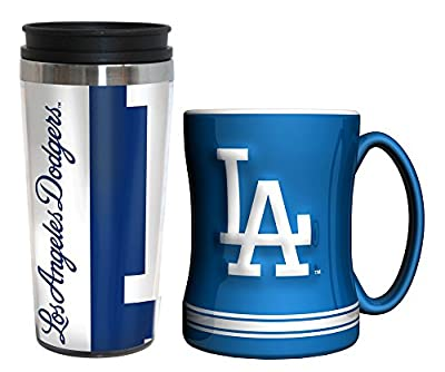 MLB Baseball Hype Travel Mug & Ceramic Relief Coffee Mug Bundle Gift Set