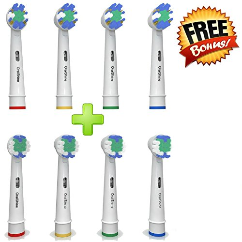The Ultimate Oral B Braun Replacement Electric Toothbrush Heads By OralShine | 4 Complimentary Soft Brush Heads Plus 4 Regular Heads | Remove Plaque And Decrease Gingivitis (Braun Oral B Pro 6000 compare prices)