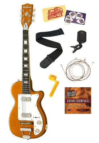 Airline H44 Dlx Electric Guitar Bundle With Strings, Strap, Tuner, Picks, Stringwinder, Dvd, And Polishing Cloth - Copper