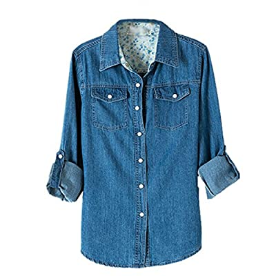 Weixinbuy Women Long Sleeve Denim Jean T-shirts Blouse