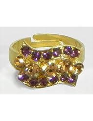 Purple And Brown Stone Studded Adjustable Ring - Stone And Metal - B00K4FVN4I