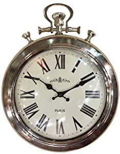 Shabby vintage chic chrome dome wall clock in stop watch style kitchen home - Giant stopwatch wall clock ...