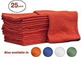 Auto-Mechanic Shop towels, Rags by Nabob Wipers 100% Cotton Commercial Grade Perfect for your Home,Garage & Auto (14x14 inches, 25 Pack, (Red)
