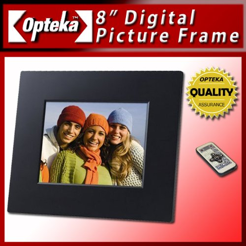 Opteka 8-inch Digital Picture Frame with 1gb Built-in Memory - Ultra High Resolution Screen, Full Function - Also Plays Video and Mp3 - (Black Sleek Design)