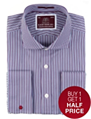2in Longer Sartorial Pure Cotton Shadow Striped Shirt