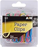Paper Clips-Giant Vinyl Coated-Assorted Colors 40/Pk