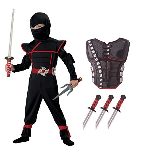 California Costumes Stealth Ninja Toddler Costume with Armor & Daggers Bundle Costume, Black/Red (Ninja Armor Costume compare prices)