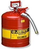 "Justrite AccuFlow 7250130 Type II Galvanized Steel Safety Can with 1"" Flexible Spout, 5 Gallons Capacity, Red"