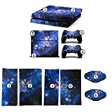 DICOOL Galaxy Blue Galactic Game Vinyl Decal Protective Cover Sticker for Sony PlayStation 4 PS4 Console and 2 Dualshock Controllers Skin Set