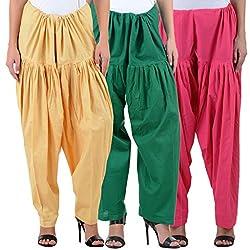 NumBrave Women's Cotton Semi-Half Patiala Salwar (Free Size)