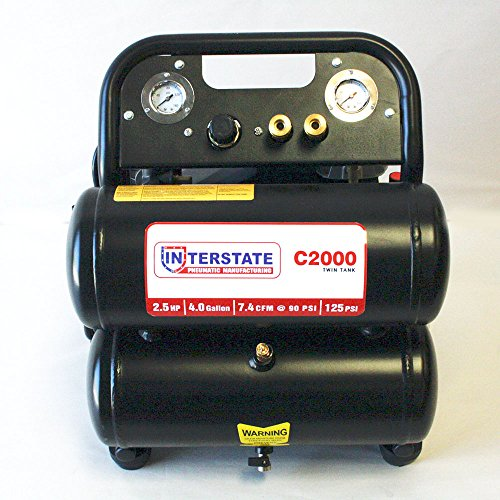 Best Price Interstate Pneumatics C2000 2.5 HP 4 Gallon Twin Tank Air Compressor, 125 PSI