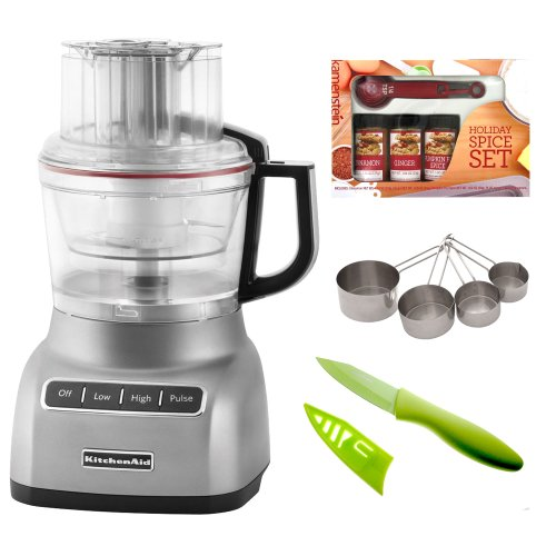 "KitchenAid KFP0922CU 9-Cup Food Processor in Contour Silver + 8"" Stainless Steel Bread Knife + Measuring Spoons Spice Set + 3.5"" Knife w/ Sheath"