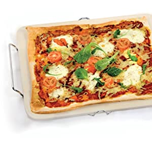 New Eddingtons Kitchen Rectangular Ceramic Pizza Stone With Serving Rack 12 X 15
