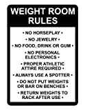 ComplianceSigns Aluminum Sports / Fitness Sign, 10 x 7 in. with English Text, White
