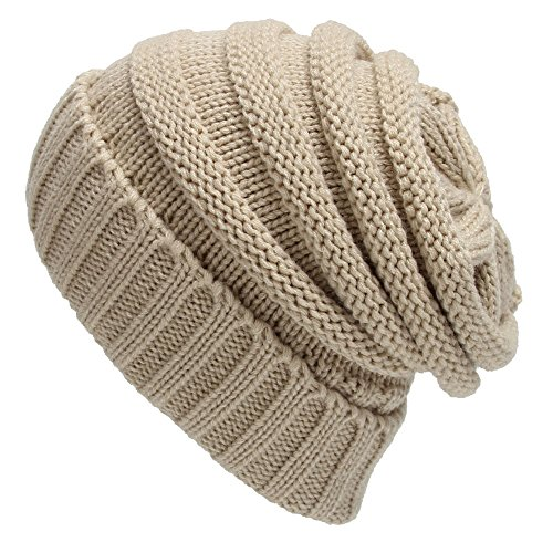 Century Star Lady Soft Casual Cap Thick Skull Beanie Knitted Stretch Hat Beige
