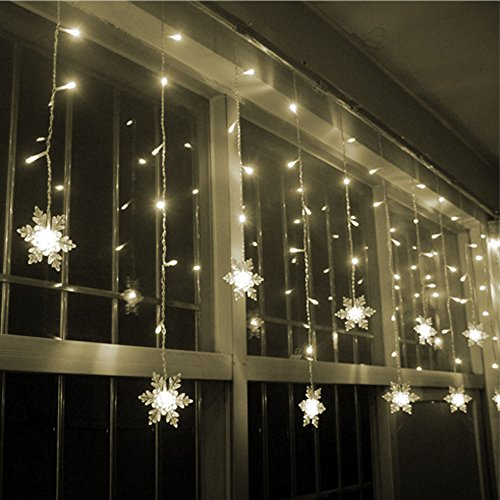 LIANGSM 3.5M 96 LED Fairy Lights Curtain Icicle Starry String Lights for Bedroom Christmas New Year Home Garden Wedding (snowflake warm white) (Christmas Lights Icicles Led compare prices)