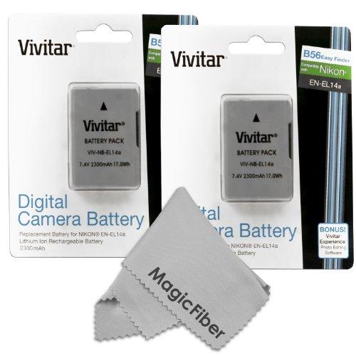 (2 Pack) Vivitar En-El14 / En-El14A Ultra High Capacity 2300Mah Li-Ion Batteries For Nikon Dslr D5300 D5200 D5100 D3300 D3200 D3100, Coolpix P7800 P7700 P7100 P7000, Nikon Df (Nikon En-El14 Replacement)