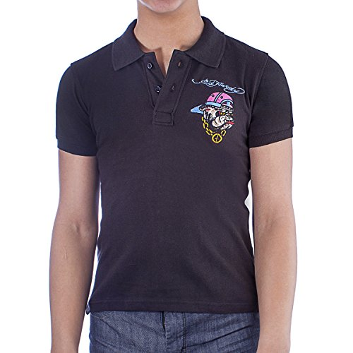 Ed Hardy Kids Bulldog Polo Shirt - Black - Medium