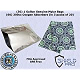 (50) 1-Gallon Genuine Mylar Bag + (60) 300cc Oxygen Absorbers (in packs of 10) for Long Term Food Storage