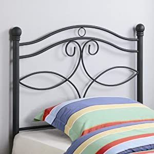 Twin Size Kid Headboard With Swirling Accents In Matte Dark Finished Metal by Coaster