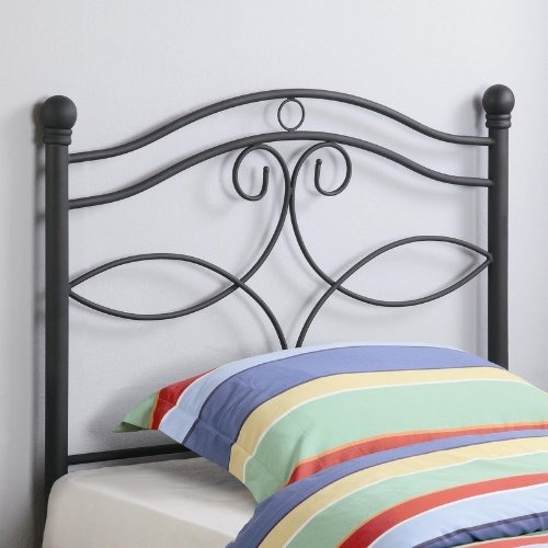 Cheap Twin Size Kid Headboard with Swirling Accents in Matte Dark Finished Metal (VF_450102T)