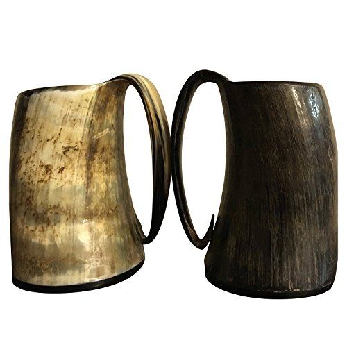XXL Hand Crafted Game of thrones Vikings Warcraft Style Drinking Glass - Medieval Era replicated Mug comes with a FREE GIFT BOX - Horn Tumblers hold around 28 oz of Ale or liquid of your choosing (Norwegian Beer compare prices)