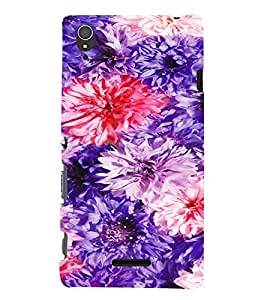 PrintVisa Colorful Flower Pattern 3D Hard Polycarbonate Designer Back Case Cover for Sony Xperia T3