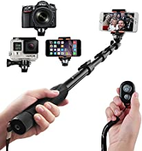 Selfie Stick, Arespark Handheld Extendable Selfie Monopod Portable Selfie Pole for Gopros, DSLR, Cameras & Cellphones with Bluetooth Remote Control for Ios/Android Phones, Extends to 50 Inches