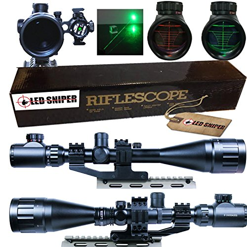 Ledsniper® 2 In1 6-24x50 Hunting Rifle Scope Mil-dot Illuminated Snipe Scope &+Tactical green Laser Sight