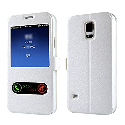Bestpriceam(tm) Window Leather Flip Case Cover Skin for Samsung Galaxy S5 G900 I9600 (White) by Bestpriceam