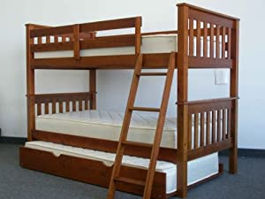 Bunk Bed Twin over Twin Mission style in Expresso with Twin Trundle by Bedz King