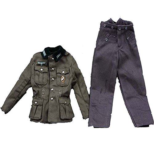 1/6 Dragon DML Model WWII SS German Wehrmacht/Waffen Officers Soldiers M36 Military Poland Uniform Green Velvet Collar Jacket Coat Pants Trousers Full Uniform Suit for the 12`` Action Figures