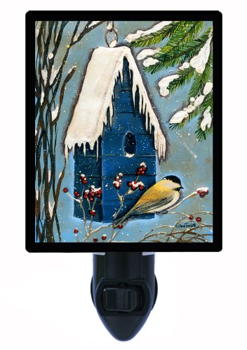 Night Light - Chickadee - Country Bird And Birdhouse Led Night Light front-187722