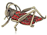 Alilang Womens Antique Golden Tone Red Rhinestones Grasshopper Cricket Insect Brooch Pin