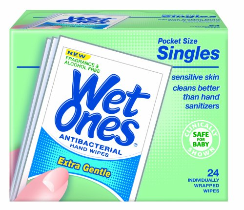 Wet Ones Sensitive Skin Hand and Face Wipes Singles,