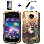 4 items Combo: Mini Stylus Pen + LCD Screen Protector Film + Case Opener + Outdoor Wild Deer Grass Camouflage Design Rubberized Snap on Hard Shell Cover Faceplate Skin Phone Case for Straight Talk Samsung Galaxy Proclaim 720C SCH-S720C / Verizon Samsung Illusion i110