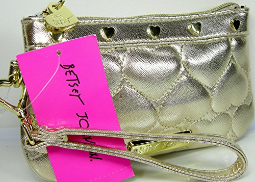 Betsey Johnson Wristlet Purse Hand Bag Gold Valentines Puffy Hearts Be Mine