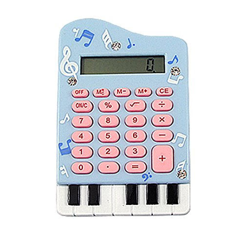 Uxcell A11111700Ux0367 Silicone Keypad Piano Shape 8 Digits Lcd Display Calculator, Baby Blue front-1086080