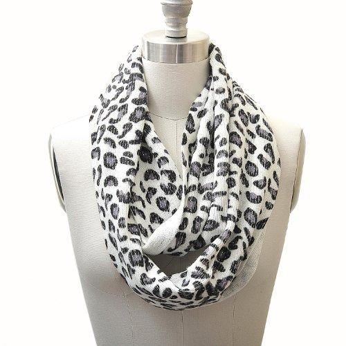 Metallic Leopard Animal Print Infinity Scarf White Color