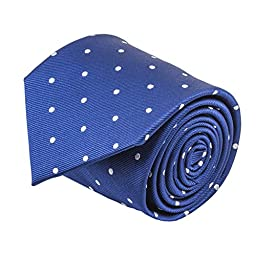 100% Silk Handmade Navy Blue & White Polka Dot Repp Tie Men\'s Necktie by John William