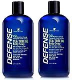 Defense Soap Antifungal Body Wash Shower Gel 12 Oz (Pack of 2) - Natural Antibacterial Tea Tree Oil