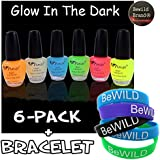 6 Pack Of Glow In The Dark Nail Polish & BeWild Brand Bracelet
