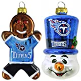 NFL Tennessee Titans Blown Glass Gingerbread Man & Top Hat Snowman Ornament 2-Pack Amazon.com