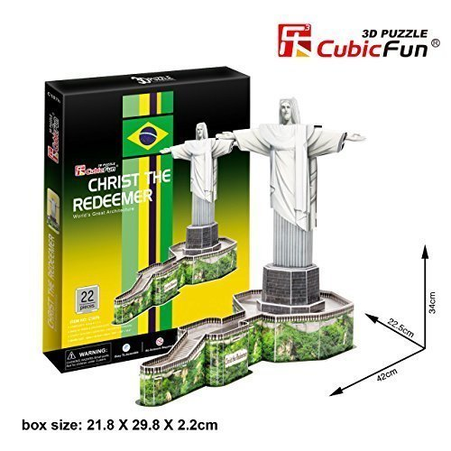 3D Puzzle Christ the Redeemer CubicFun 3D Puzzle C187h 22 Pieces Decorative Fashion Best Seller Exiting Fun Educational Historic Playing Building Game DIY Holiday kids Best Gift Toy Set - 1