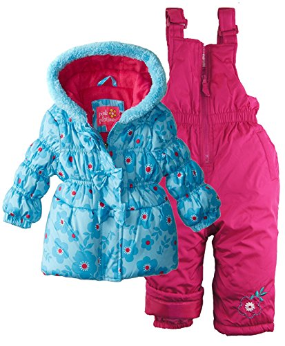 Pink Platinum Girls Fleece Lined Snowboard Puffer Jacket and Snowpants Snowsuit - Turquoise (24 Months)