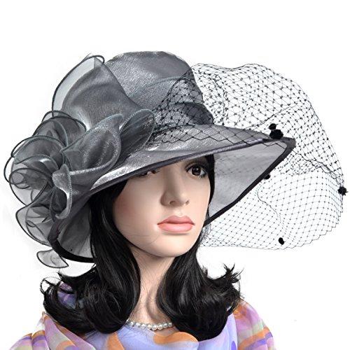 F&N STORY Lady Kentucky Derby Dress Church Wedding Party Hat Drown Brim S043
