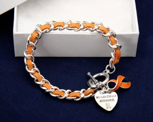 Orange Ribbon Bracelet-Leather Rope (18 Bracelets)